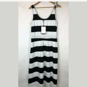 Who What Wear M Striped Dress Black White Midi